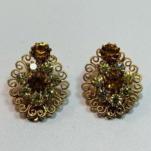Vintage Golden/Clear Rhinestone Clip Earrings